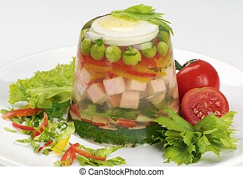 Ham and vegetable aspic - Ham and Vegetable Salad in Aspic