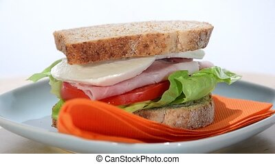 sandwich - ham, cheese and tomato sandwich
