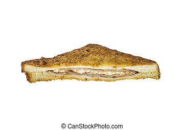 ham cheese sandwich on white background