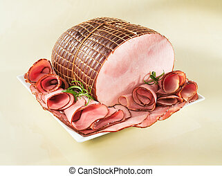 Ham on a plate