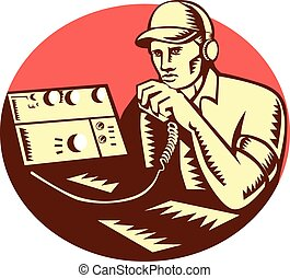 Ham Radio Operator Circle Woodcut - Illustration of a ham...