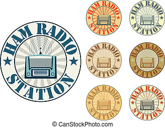 Ham radio station - Vintage style ham radio station badges