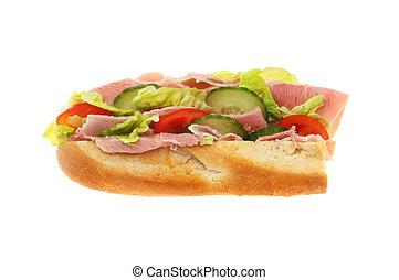 Ham salad baguette