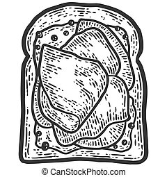 Ham sandwich. Sketch scratch board imitation. Black and white. Engraving vector illustration.