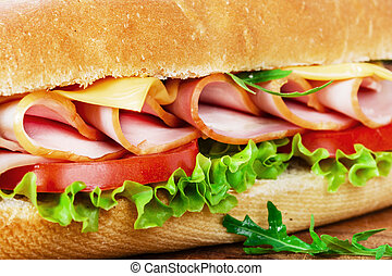 ham sandwich with cheese and tomato