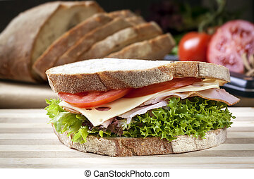 Ham Sandwich with Salad and Cheese