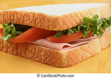 ham sandwich with tomatoes and lettuce
