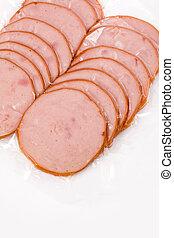 ham slices close up shot