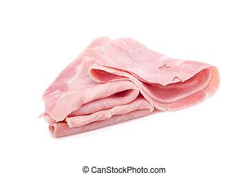 ham slices isolated on white