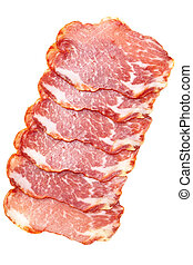 Ham - Slices of ham isolated over white background