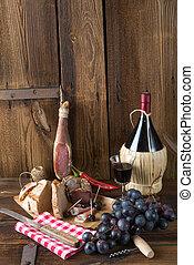 Ham, wine and bread