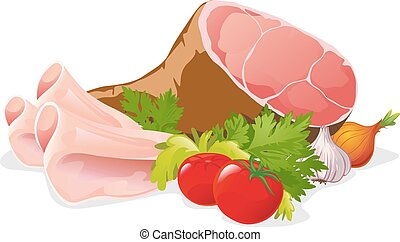 ham with vegetable - vector illustration isolated on white...