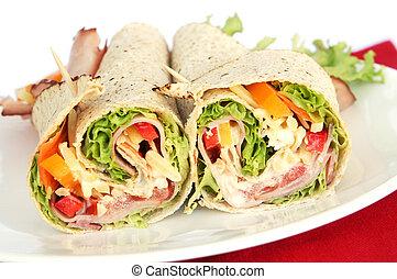 Ham Wrap Sandwich - Ham wrap sandwich with salad and...