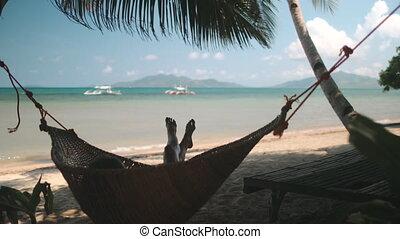 hamac, femme, exotique, sibaltan, plage, balançoire