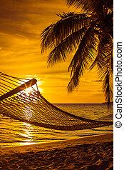 hamaca, con, árboles de palma, en, un, hermoso, playa, en, ocaso