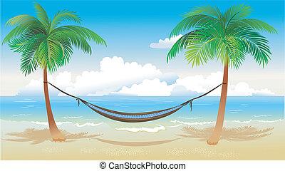 hamaca, y, árboles de palma, en, playa
