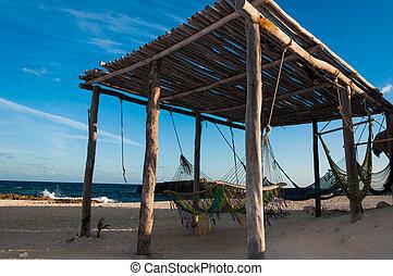 hamacas, en, el, idílico, playa, en, cozumel, isla, yucatán,...