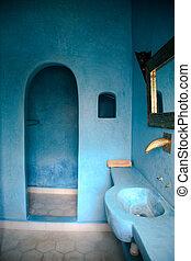 Blue Hamam or moroccan bathroom - african sauna