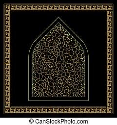 hamam, pretas, ornamento, ouro, turco