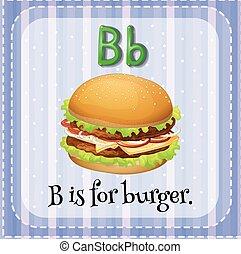 hambúrguer, b, letra, flashcard