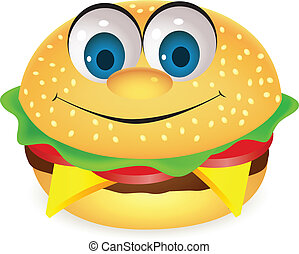hambúrguer, caricatura, personagem