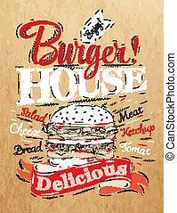 hambúrguer, casa, cartaz