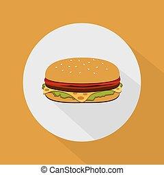 hambúrguer, com, salada, tomates, queijo, e, cutlet., rapidamente, alimento.