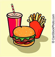 hambúrguer, combo, com, frita, e, soda