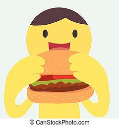 hambúrguer, comer