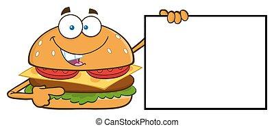 hambúrguer, em branco, apontar, sinal