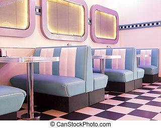 hambúrguer, estilo, 50s