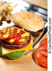 hambúrguer, fastfood, -