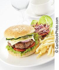 hambúrguer, frita, francês