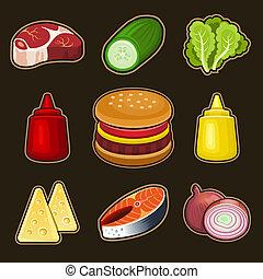 hambúrguer, jogo, ícones