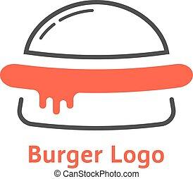 hambúrguer, magra, logotipo, linha, molho, vermelho