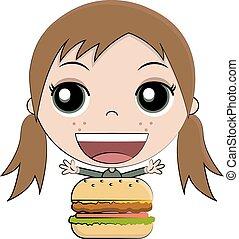 hambúrguer, menina, comer, caricatura