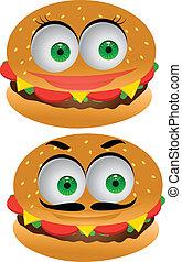 hambúrguer, personagem, caricatura