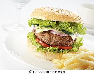 hambúrguer, servindo, restaurante