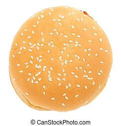 hambúrguer, sobre, fundo branco, isolado