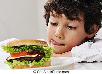 hambúrguer, tentação, menino