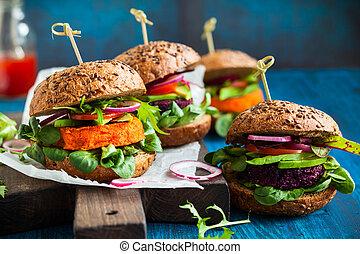 hambúrgueres, cenoura, abacate, veggie, beterraba