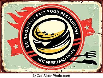 hambúrgueres, lata, vindima, sinal