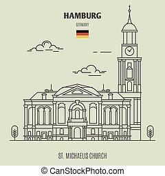 hambourg, église, germany., repère, michaelis, icône, rue.