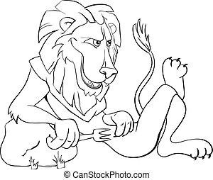 hambriento, león