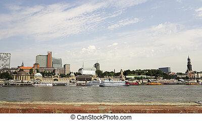 Hamburg across the Elbe - View on Hamburg city with harbor...