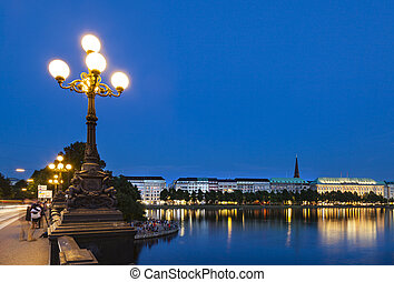 Hamburg Binnenalster At Night - Summer evening at the...