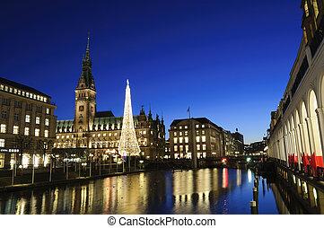 Hamburg, Germany - Christmas illuminations in Hamburg,...