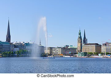 Hamburg, Germany - The old city of Hamburg and the Alster.