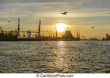 Hamburg harbor at evening