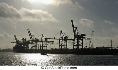 Hamburg Harbor in Germany - video footage of the harbour of...